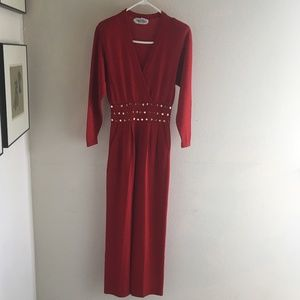 Long St John Red Jumpsuit Knit with Gold Studs